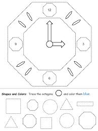shape recognition worksheet octagons clock