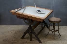 Vintage Wood Drafting Table Light Drafting Table Midcentury Retro Style Modern Architectural