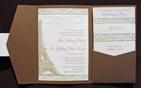 eiffel tower wedding invitations gold bronze pink damask eiffel tower themed pocketfolds