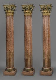a set of three neoclassical style gilt bronze and rose granite