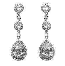 Cubic Zirconia Chandelier Earrings Amberly Clear Pear Drop Halo Dangle Chandelier Earrings Cubic