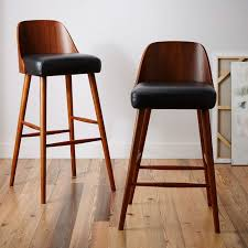 bar stools wood and leather gorgeous wood and leather bar stools walnut woodwhite leather effect