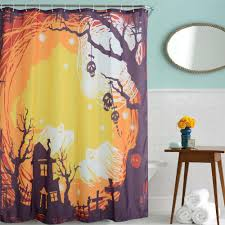 online get cheap halloween shower curtain aliexpress com waterproof halloween skeleton ghost decoration polyester shower curtains bath bathing sheer curtain for home decor