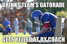 Football Player Meme - most sacks of equipment carried onto field 3rd string football