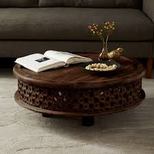 carved wood end table carved wood coffee table west elm