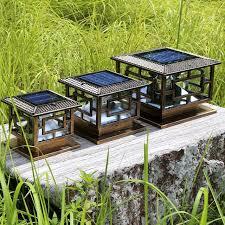 solar powered pillar lights d30 h25cm led outdoor solar powered garden l decoration pillar