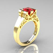 modern art deco 14k yellow gold 1 0 ct ruby engagement ring r36n