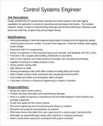 Oil And Gas Electrical Engineer Resume Sample by Chief Engineer Job Description Control System Engineer Job