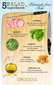 5 healthy salad ingredients for a blemish free skin infographic