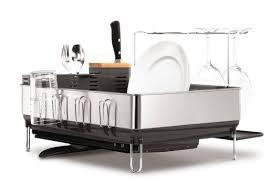 Dish Drainers Simplehuman Steel Grey Frame Dish Rack With Wine Glass Holder