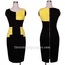 eva longoria short yellow black colorblock cocktail dress