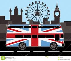 England Flag Colors Double Decker Bus In Great Britain Flag Color Stock Vector Image