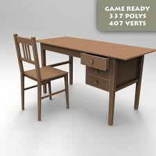 3d model realtime desk and chair cgtrader