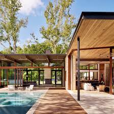 patio house desai chia u0027s michigan lake house has a roof that cantilevers over
