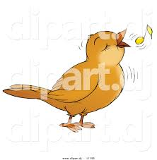 clipart of a cartoon bird singing with a yellow music note by alex