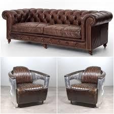 vente canape chesterfield canapé chesterfield cuir marron et 2 fauteuils aviateur cuir marron
