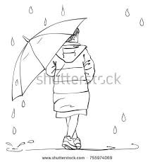 vector sketch little walking under stock vector 754833382