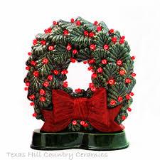 fashioned ceramic wreath big bow colorful