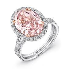 pink wedding rings uneek oval fancy brown pink diamond halo engagement ring with