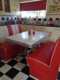 american diner booth bench seats and dining table red and white