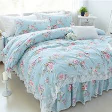 online shop new pastoral print bedding set lace ruffle duvet cover