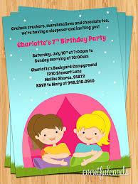 Backyard Birthday Party Invitations Girls Camping Birthday Party Invitation By Eventfulcards Catch