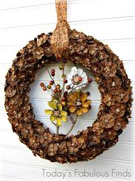 today s fabulous finds fall pine cone flower wreath tutorial