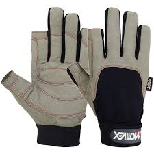 sailing gloves 2 cut finger style yachting glove in blue grey color