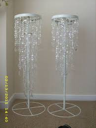 Beaded Chandelier Diy Crystal Iridescent Beaded Chandelier And Stand Wedding Bling With