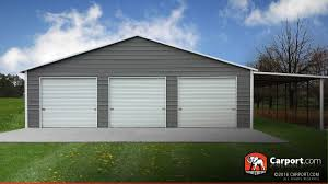 Carports And Garages Custom Three Car Garage 42 U0027 X 31 U0027 X 8 U0027 Shop Metal Buildings Online