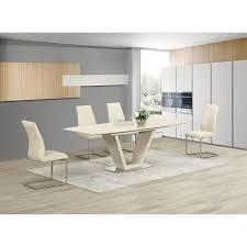 Cream Dining Chairs Lorgato Gelato Cream High Gloss Extending Dining Table 160cm To