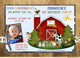 baby farmboy photo birthday invitation barn cute first animals