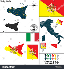 Italy Regions Map by Vector Map Region Sicily Coat Arms Stock Vector 250091611