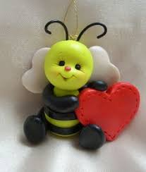 honey bee bumblebee bee christmas ornament polymer clay insect bug