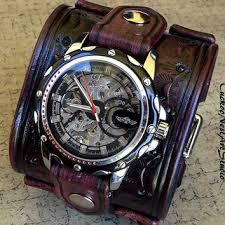 leather strap bracelet watches images Steampunk leather cuff watch men 39 s from cuckoonestartstu jpg