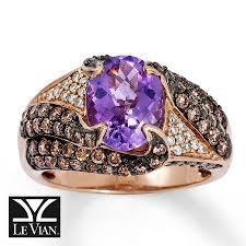 14k gold large diamond amethyst jared le vian 14k strawberry gold diamond u0026 pink amethyst ring