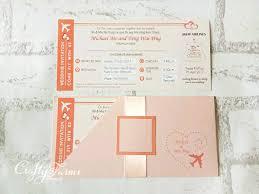 Boarding Pass Wedding Invitation Card Wedding Card Malaysia Crafty Farms Handmade Peach Boarding