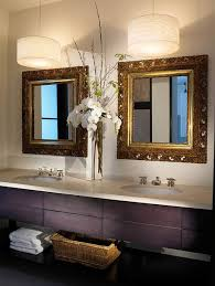 bathroom lighting design white stained wooden frame wall mirror
