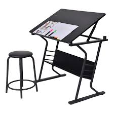 Table Top Drafting Board Tiltable Tabletop Drawing Board Table W Stool Desks Office
