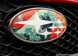 custom subaru emblem 02 05 subaru wrx badge overlays limited edition great wave
