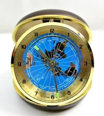 Utah travel alarm clocks images Vintage bulova quartz revolving blue world map time zone travel jpg