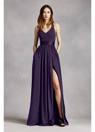 vera wang bridesmaid v neck halter gown with sash david s bridal