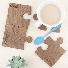 personalised wooden gift set of four walnut coasters wooden