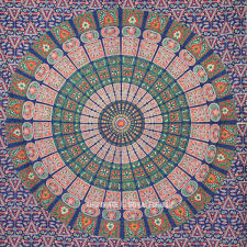 Circle Hanging Bed by Twin Blue Mandala Boho Wall Tapestry Indian Hippie Tapestry Wall
