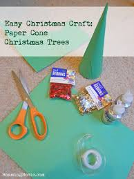 easy christmas craft paper cone christmas trees roaming rosie