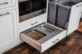 Kitchen Trash Cabinet Pull Out Pull Out Dog Food Drawer Transitional Kitchen