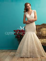deep v neck vintage trumpet lace wedding dress with cap sleeves