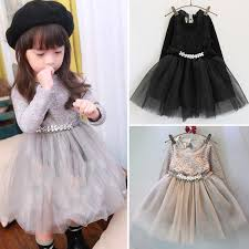 toddler baby girls lace dress black gray kids winter clothes