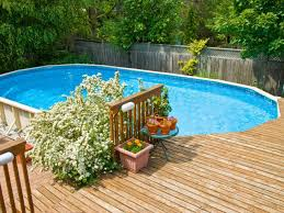 how to build a wood deck around above ground pool contemporary