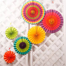 paper fans 6pcs paper fan rosettes backdrop paper pinwheel garland party fans